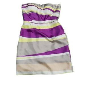 Banana Republic Women Purple Strapless Silk Dress